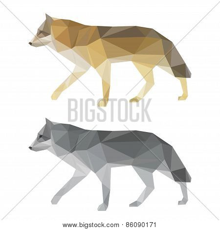 Abstract Polygonal Geometric Triangle Wolf Set Isolated On White Background