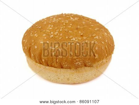 Hamburger bun or bread on a white background