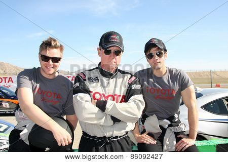 LOS ANGELES - FEB 21:  Brett Davern, Robert Patrick, Nathan Kress at the TGPLB Pro/Celebrity Race Training at the Willow Springs Raceway on March 21, 2015 in Rosamond, CA
