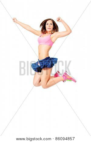 Young sportswoman jumps high. Fitness sports. Winner, champion. Achievements in sports.