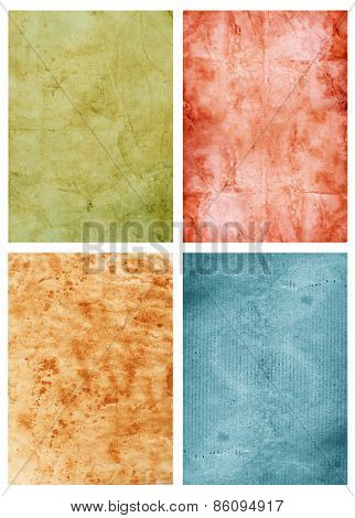 Four Old Paper Sheets On White Background