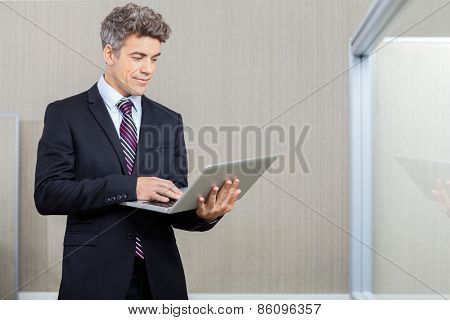 Mid adult business executive working on laptop at call center
