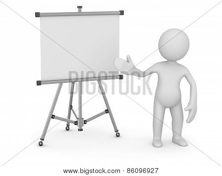 White Man Pointing Empty Whiteboard