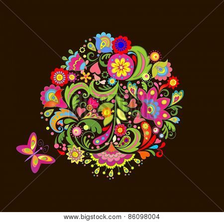 Print with colorful summer flowers