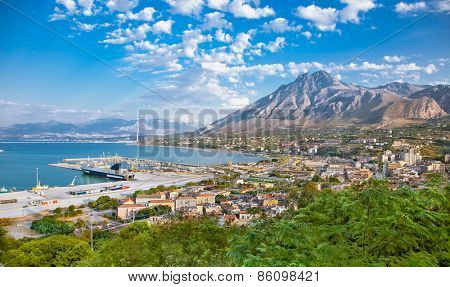 Beautiful panoramic view on harbor of Termini Imerese, Sicily, Italy.