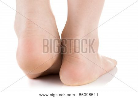 Asian Child Foot. Studio Shot.