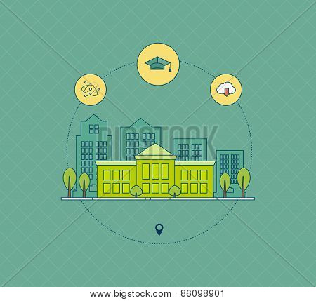 School and university building icon