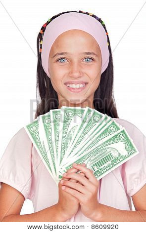 Little Girl With With With Dollar Bills