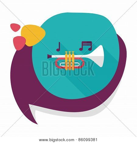 Trumpet Or Horn Flat Icon With Long Shadow,eps10