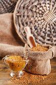 image of mustard seeds  - Mustard seeds in bag and sauce in sauce - JPG