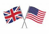 foto of flag pole  - British and American flags on white - JPG