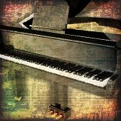 image of grand piano  - abstract grunge cracked music symbols vintage background with grand piano - JPG