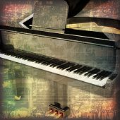 picture of grand piano  - abstract grunge cracked music symbols vintage background with grand piano - JPG