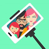 pic of selfie  - White mobile phone wit family selfie photography - JPG