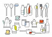 stock photo of cook eating  - cooking eating icon and home ware equipments - JPG