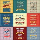 picture of denim jeans  - Original authentic denim jeans genuine typography labels emblems design icons collection colored background abstract isolated vector illustration - JPG
