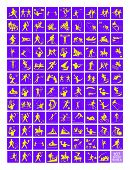 image of luge  - Illustration Collection of 107 Winter and Summer Sport Icons in Yellow and Purple Colors - JPG