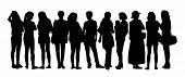foto of ordinary woman  - black silhouette of a large group of young women only talking standing in different postures - JPG