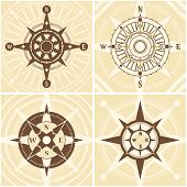 stock photo of longitude  - Vintage compass design concept set with flat nautical icons set isolated vector illustration - JPG