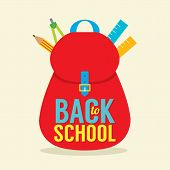 foto of red back  - Red School Bag And Equipment Back to School Concept Vector Illustration - JPG