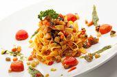image of pesto sauce  - Vegetarian Tagliatelle with Cherry Tomato and Pesto Sauce - JPG