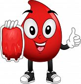 stock photo of blood  - Mascot Illustration of a Red Blood Cell Carrying a Blood Bag - JPG