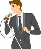 pic of singing  - Illustration of a Man in a Suit Singing Using a Microphone - JPG
