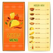 foto of mexican food  - Mexican restaurant menu template with traditional spicy food cuisine vector illustration - JPG