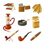 picture of tobacco smoke  - Tobacco and smoking decorative icons set with matches lighter cigarette pack isolated vector illustration - JPG
