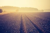 stock photo of plowed field  - Sad autumnal landscape with plowed fields - JPG