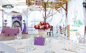 stock photo of wedding table decor  - Elegant wedding festive table with flowers outdoors decoration  - JPG