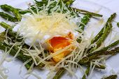 pic of benediction  - Benedict egg with grilled asparagus and parmesan - JPG