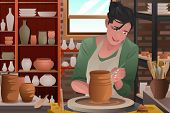 picture of pottery  - A vector illustration of stylish young woman working on a pottery - JPG