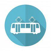 stock photo of tram  - tram blue flat icon public transport sign  - JPG