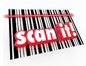 image of barcode  - Scan It words in red 3d letters on UPC barcode chart to illustrate universal product code for merchandise to track for inventory and pricing - JPG