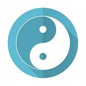 pic of ying-yang  - ying yang blue flat icon   - JPG