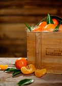 picture of wooden crate  - Wooden crate with tasty tangerines on a table - JPG