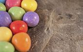foto of laying eggs  - Illustration of mini eggs laying on a slate table created using median noise reduction - JPG
