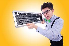 picture of nerds  - Computer geek nerd in funny concept - JPG