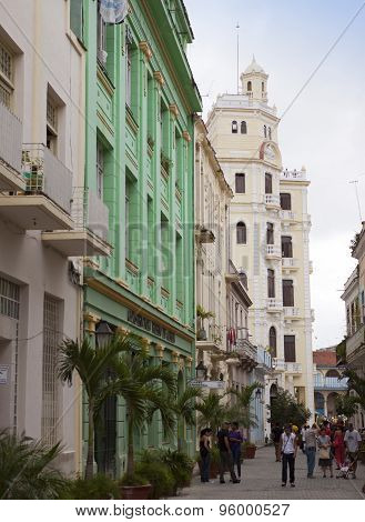 HAVANA CUBA- JANUARY 27: A crowd of people visit old city streets on January 27 2013 in Havana Cuba