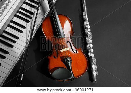 Musical instruments on dark background