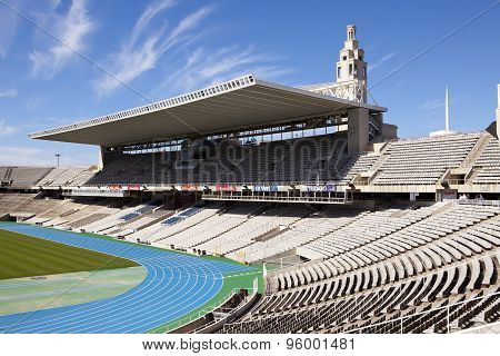 BARCELONA SPAIN - MAY 10: empty tribunes on Barcelona Olympic Stadium on May 10 2010 in Barcelona Sp