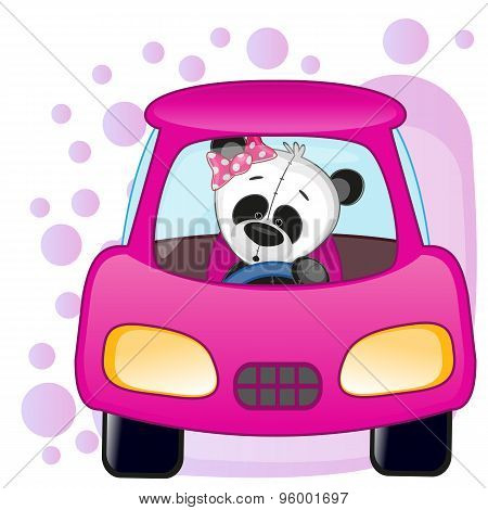 Panda Girl In A Car