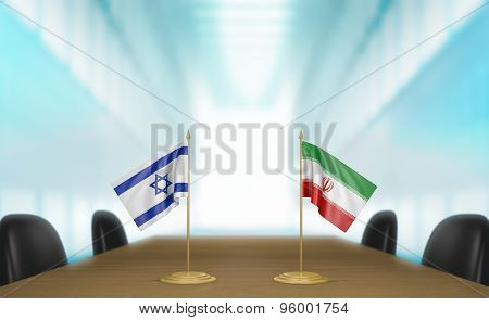 Israel and Iran relations and deal talks 3D rendering