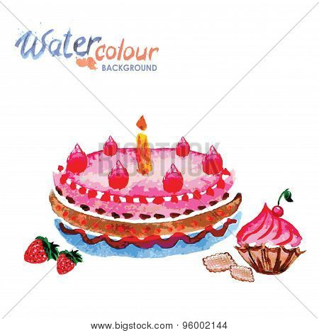 Pastries And Cakes White Background With Space For Text, Waterco