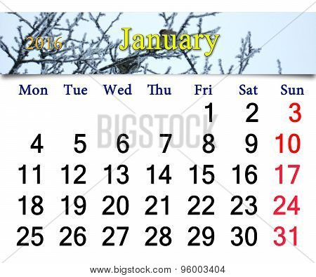 Calendar For January 2016 With Winter Sparrows