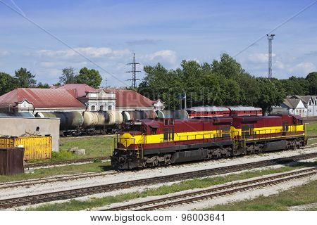 Railway station and cargo train. Narva. Estonia.