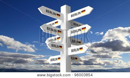 White signpost with Berlin city name on blue sky background
