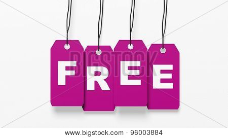 Pink hanging tags with Free word isolated on white background