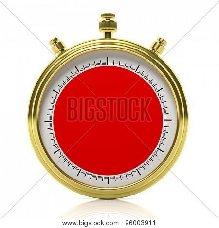 Gold chronometer set on 60 seconds, isolated on white